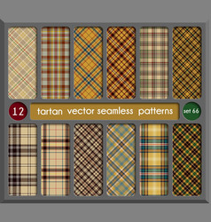 Set in beige tartan seamless pattern background vector