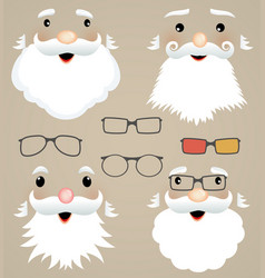 set of christmas masks santa claus glasses vector image