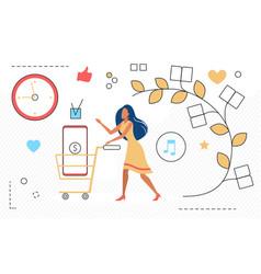 shopper girl shopping online woman shopaholic vector image