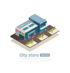 shopping center isometric composition vector image