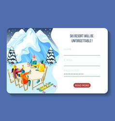 ski resort isometric landing page vector image