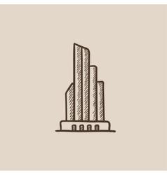 Skyscraper office building sketch icon vector image