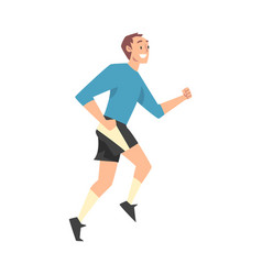 Smiling man in sportswear jogging or running vector