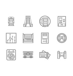 Subway flat line icons set vector