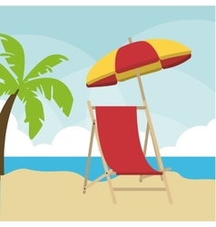 Summer design palm tree and chair icon graphic vector