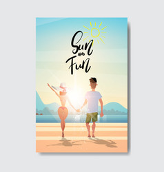 summer love people couple holding hands looking vector image
