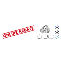 Textured online rebate line stamp and collage vector