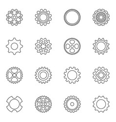 thin line cog wheels and gears vector image