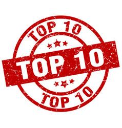 Top 10 round red grunge stamp vector