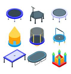 Trampoline icons set isometric style vector