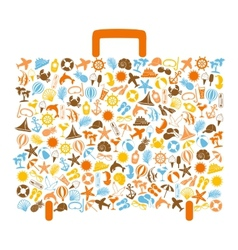 travel bag consisting of summer icons vector image