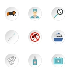 Treatment of animals icons set flat style vector