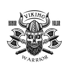 viking bearded skull and axes emblem vector image