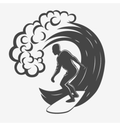 Vintage logo Men surfing on big wave Surfboard vector image