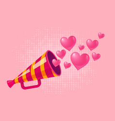 Vintage megaphone with hearts vector