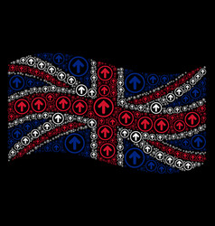waving united kingdom flag collage of rounded vector image