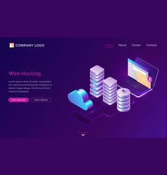 web hosting isometric concept web banner vector image