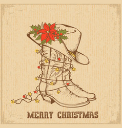 western christmas greeting card with cowboy vector image