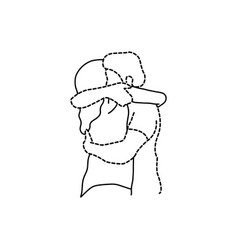 Woman hugs her transparent dashed line lover vector