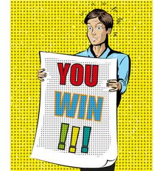 you win vintage pop art vector image