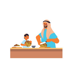 Young arab father and little son preparing healthy vector