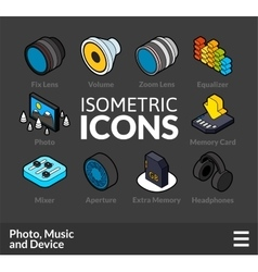 Isometric outline icons set 5 vector image vector image