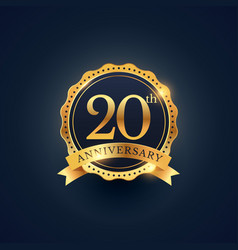 20th anniversary celebration badge label in vector image vector image