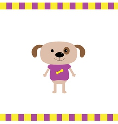 Cartoon dog boy card vector image