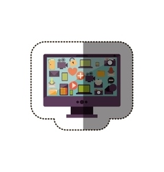 Color sticker with desktop computer screen icons vector