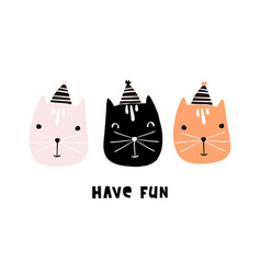 cute cats with party hats hand drawn vector image vector image