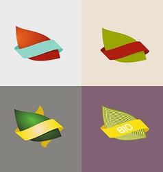 Eco logo natural and organic symbols setLleaves vector image
