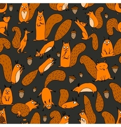 Funny squirrel with nut seamless pattern for your vector image