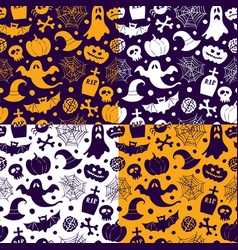 halloween seamless patterns icons vector image vector image