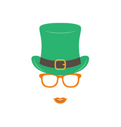irish girl in green hat and orange glasses st vector image