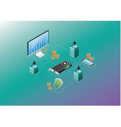 isometric blockchain technology vector image