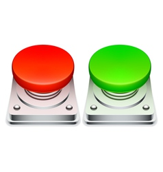 Red and green buttons vector image vector image