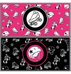 Set of flyers on the theme of roller derby and vector