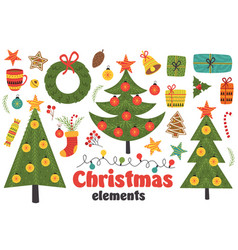 set of isolated christmas elements vector image