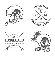 Set of vintage surfing labels and badges vector image vector image