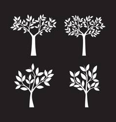 set of white trees and leafs vector image