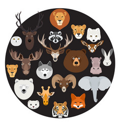 big animal face icon circle set on black vector image vector image