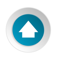 blue circle shape internet button with up sign vector image