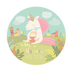 cute unicorn eating popcorn vector image vector image