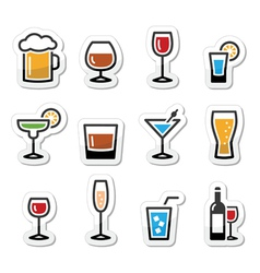 Drink alcohol beverage icons set as labels vector image