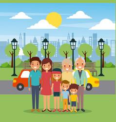 family happy in the park city street cars sky vector image