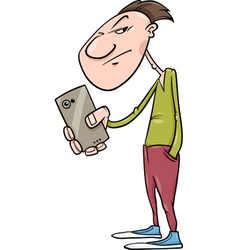 guy shoot with smartphone cartoon vector image vector image
