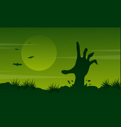 halloween landscape with zombie collection vector image vector image