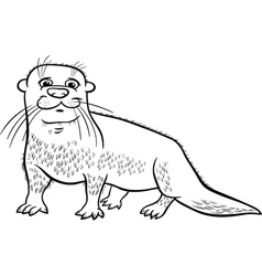 otter animal cartoon coloring page vector image vector image