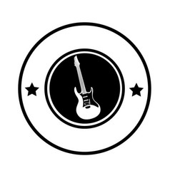 silhouette circular border with electric guitar vector image vector image