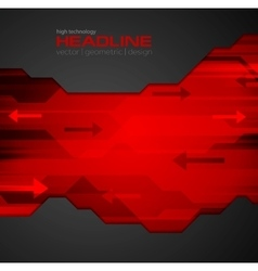 Abstract red black tech background vector image